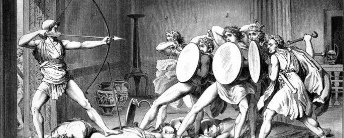 Artwork depicting Odysseus facing Penelope's suitors