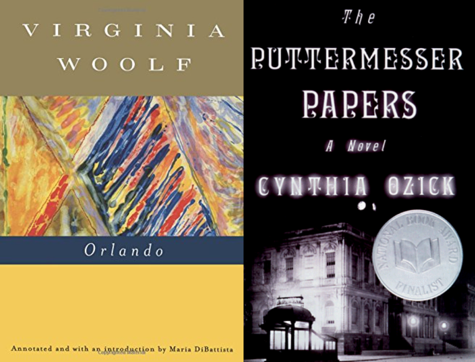 Cover art for Virginia Woolf's Orlando and Cynthia Ozick's The Puttermesser Papers