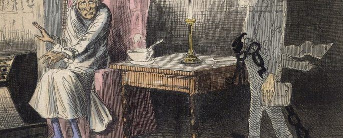 A drawing from a scene of A Christmas Carol