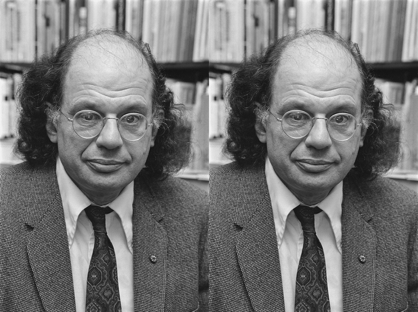 Black and white photograph of Allen Ginsberg in his later years