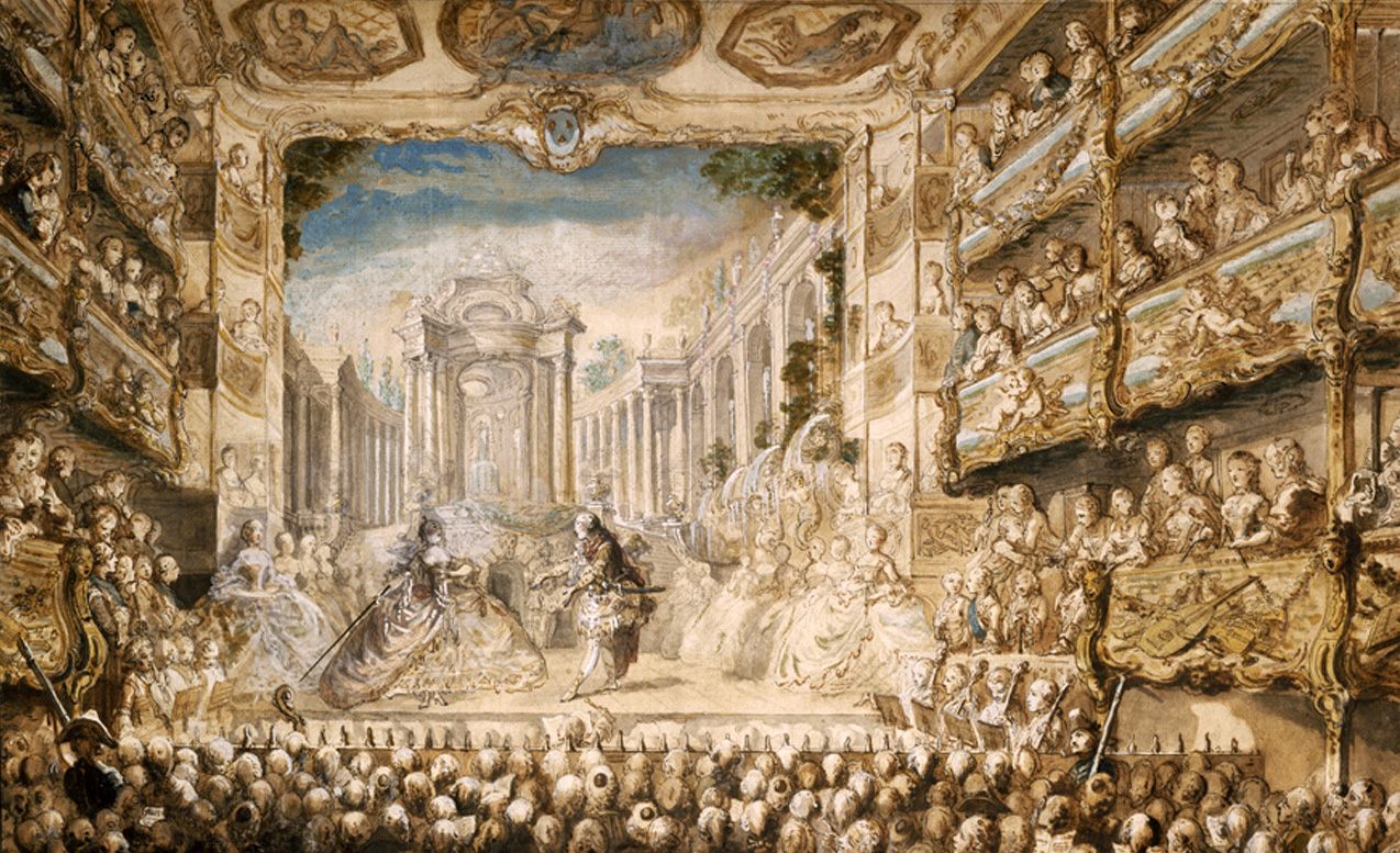 Victorian painting of a lavish French opera.