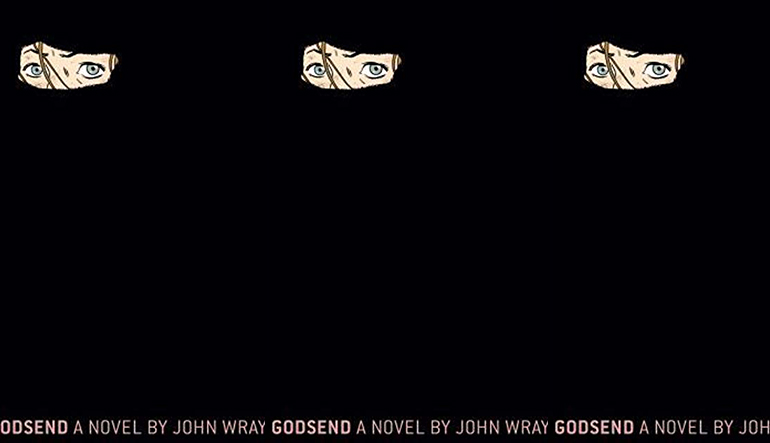 A black book cover with a small image of a woman's eyes