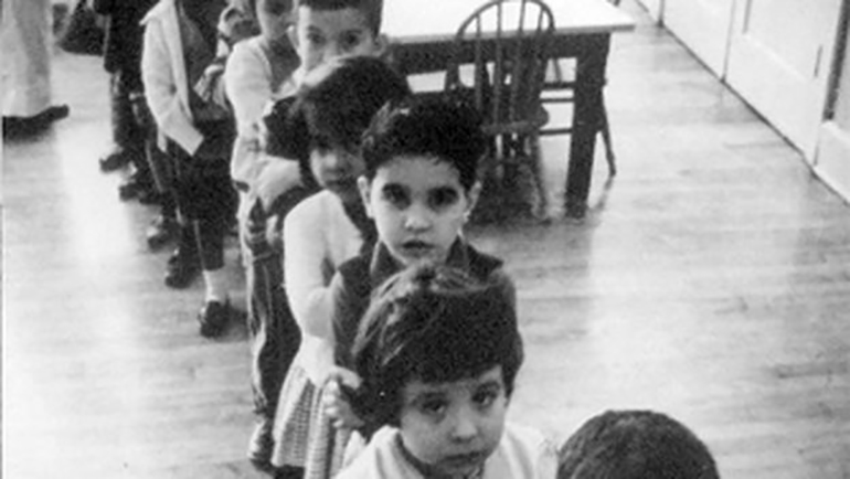 A black and white image of children