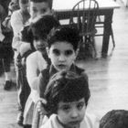 A black and white photo of children