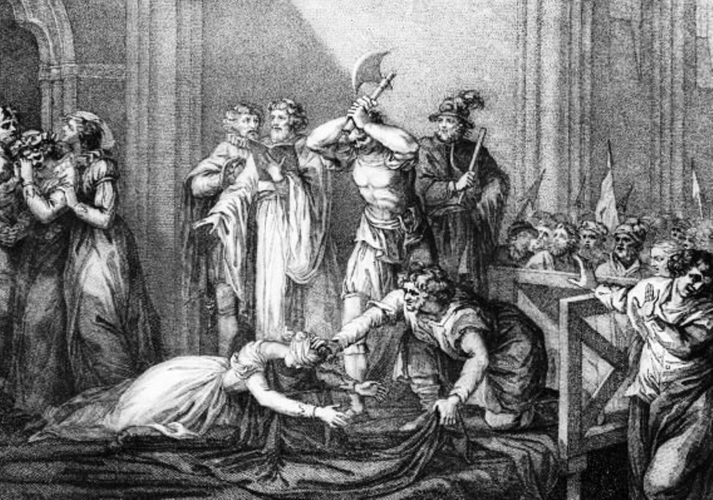 An engraving of the execution of Mary, Queen of Scots