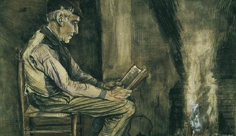 Farmer Sitting at the Fireside and Reading, by Vincent Van Gogh.