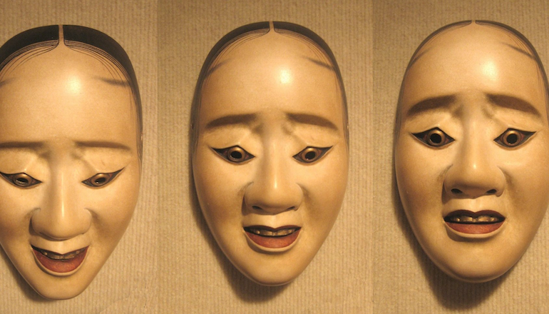 The noh masks, from left to right, indicated three different emotions.