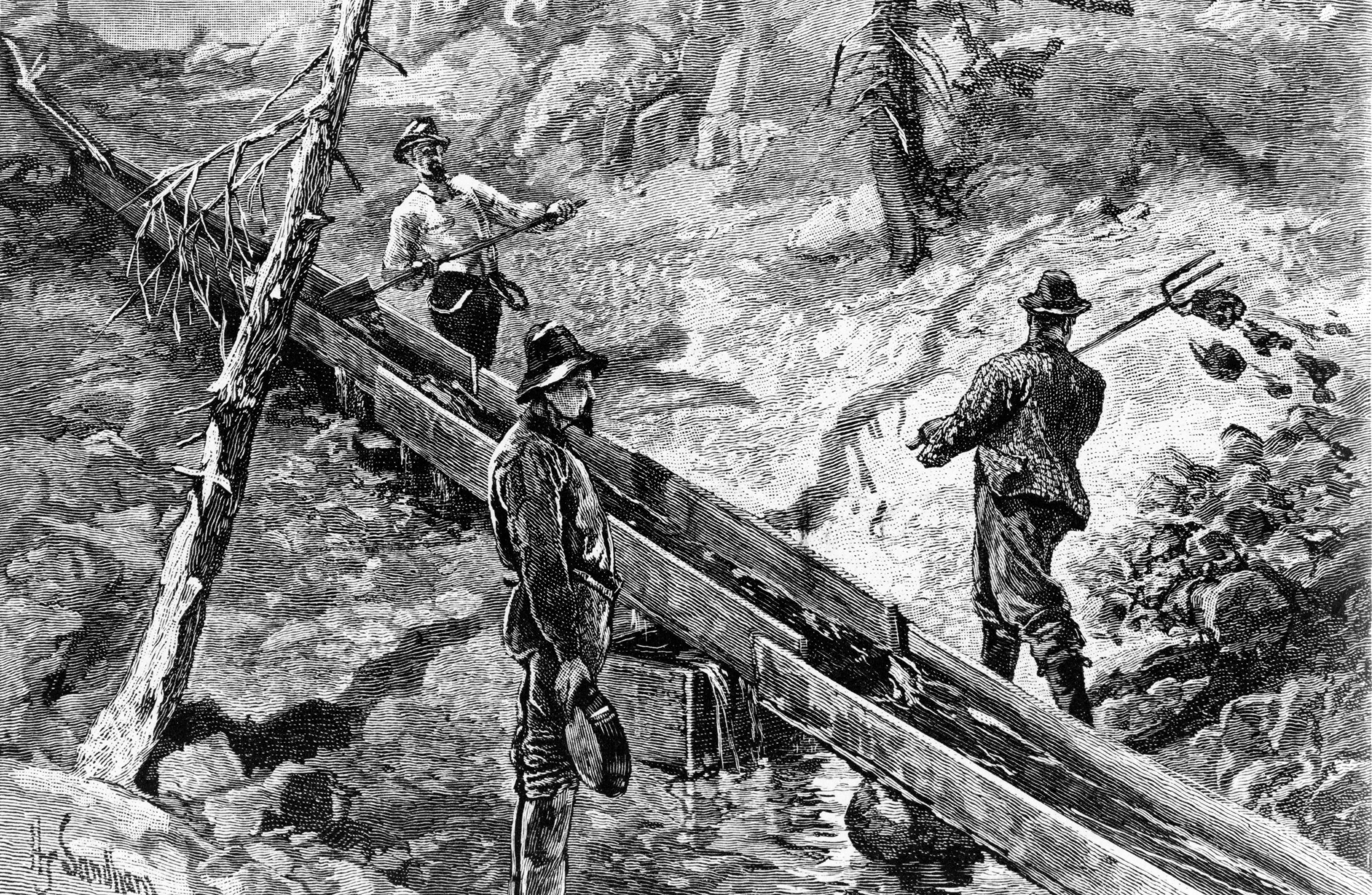 Men dressed in outdoorswear pan for gold and chop down trees in the wilderness. The sketch is in black and white.