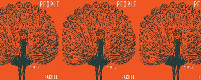 The book cover of The Lucky Ones Get to Be People featuring a peacock with a woman's head