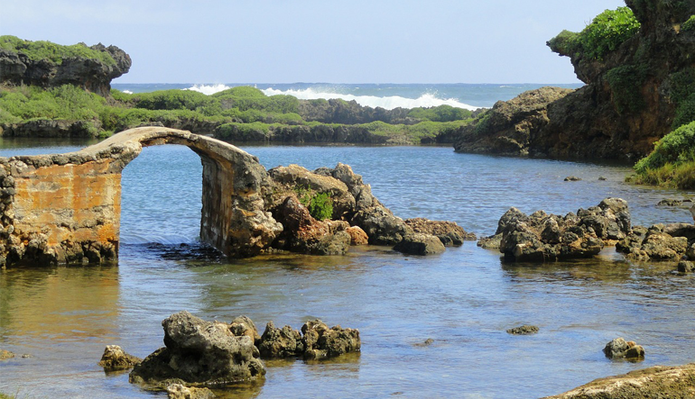 Rock formations on the coast of Guam