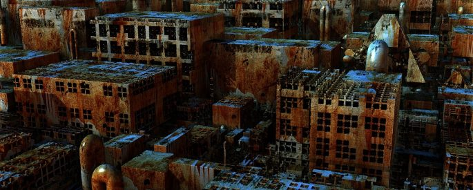A ruined and aged city is looked at from a birdseye view.