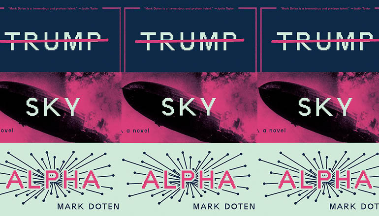 The cover of the book TRUMP SKY ALPHA are side by side.