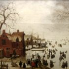 An oil painting of a village, with skaters on an ice covered pond and people walking under bare trees. While the landscape is baren, the painting feels crowded.