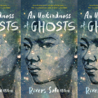 The cover of An Unkindness of Ghosts side by side.