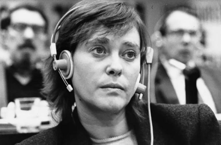 A black and white photograph of Mariateresa Di Lascia