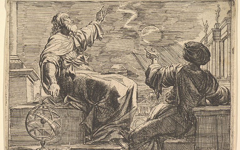 A sketch of two philosophers watching an eclipse.