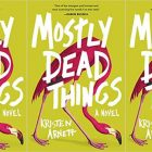 "The cover of ""Mostly Dead Things"" by Kristin Arnett, lime green with a pink flamingo bending over"