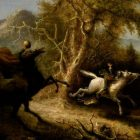 painting depicting a headless horseman on a black horse pursuing a man on a white horse through a forest