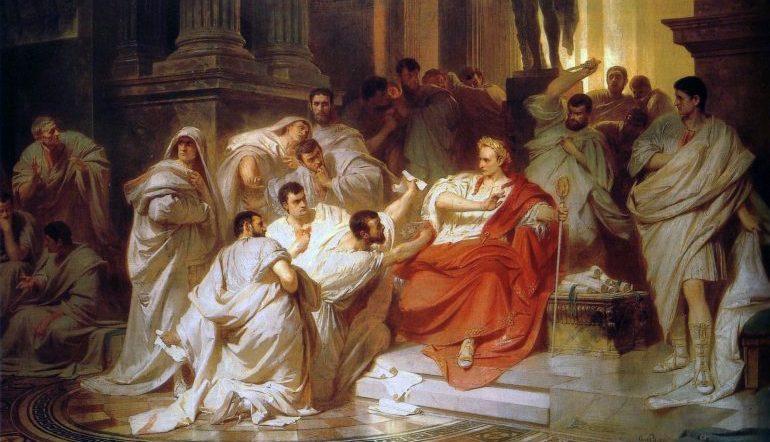 Painting by Karl von Piloty depicting the senators attacking Julius Caesar