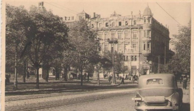 Vintage photograph of a large building in Odessa, Ukraine