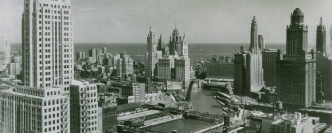 A scene of 1940s Chicago looking toward Lake Michigan