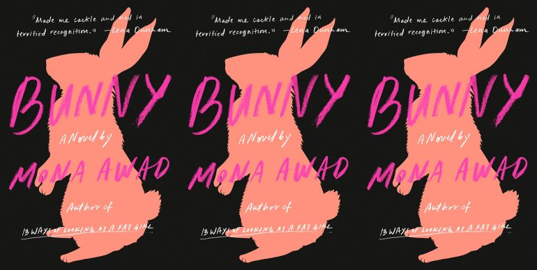 "Cover of the book ""Bunny"" by Mona Awad. Black background with the outline of a pink rabbit"