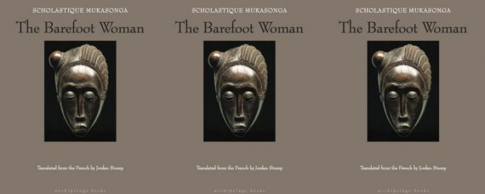 "Cover of ""The Barefoot Woman"" by Scholastique Mukasonga depicting a traditional mask from Rwanda"