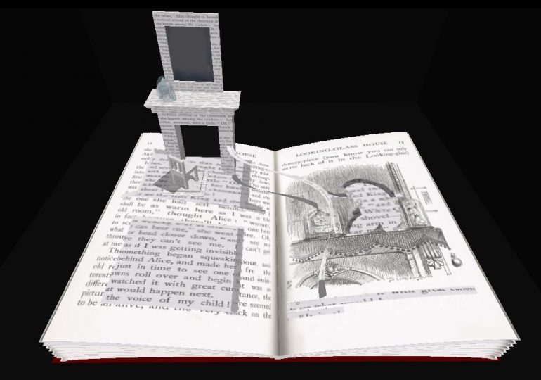 A book of Alice in Wonderland cut into a 3D sculpture