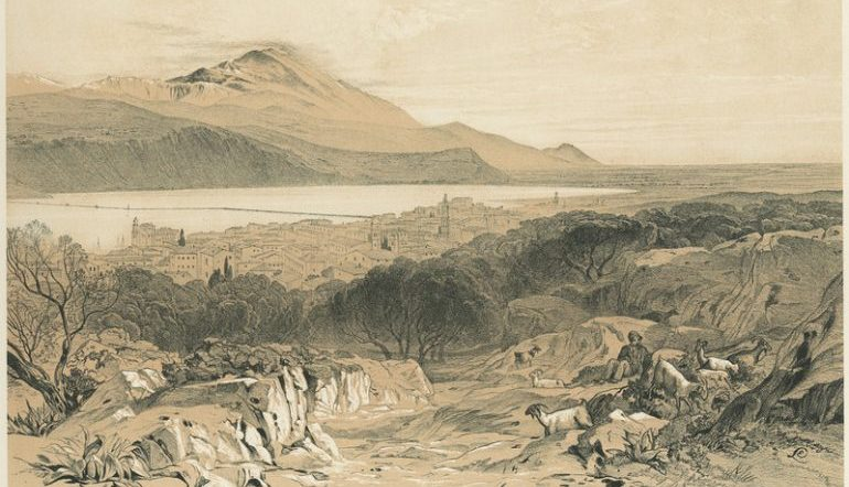 A drawing of Cephalonia from the 1800s, depicting a mountain rising in the distance