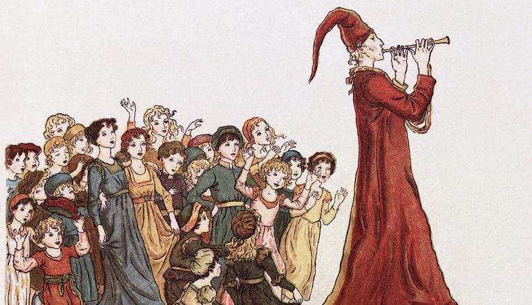 Drawing of the Pied Piper playing his flute and leading a group of children