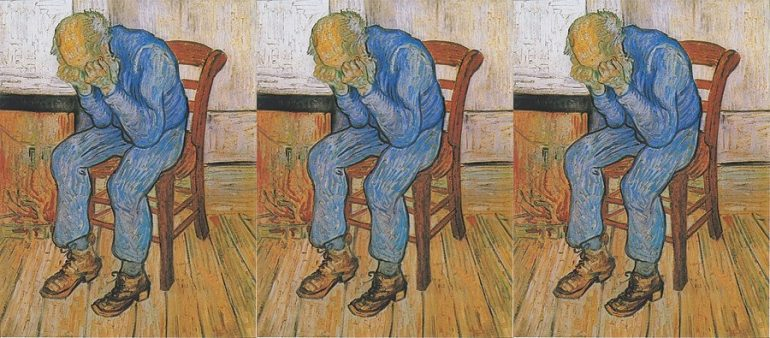 Painting by Vincent van Gogh showing an old man sitting on a chair with his head in his hands