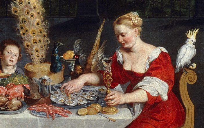 Oil panting depicting a woman in a red dress about to eat oysters in front of a table full of delicacies
