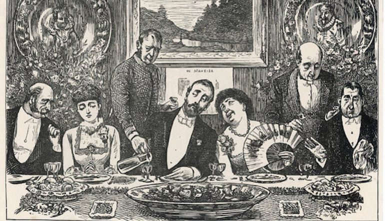 Line drawing of a formal dinner party complete with two butlers and people in fancy dress