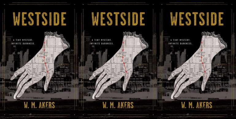 Black cover with gold lettering depicting a white glove imprinted with a map of Manhattan