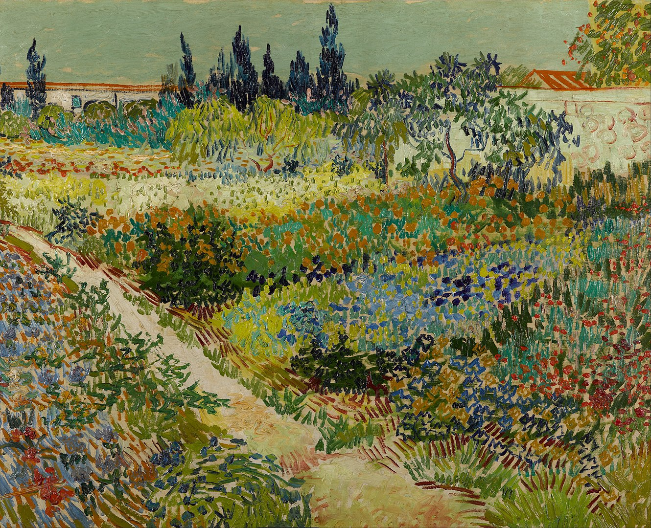 a painting by Vincent van Gogh of a lush garden with a building in the distant background
