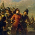 a painting from the 1800s of a woman being captured by soldiers