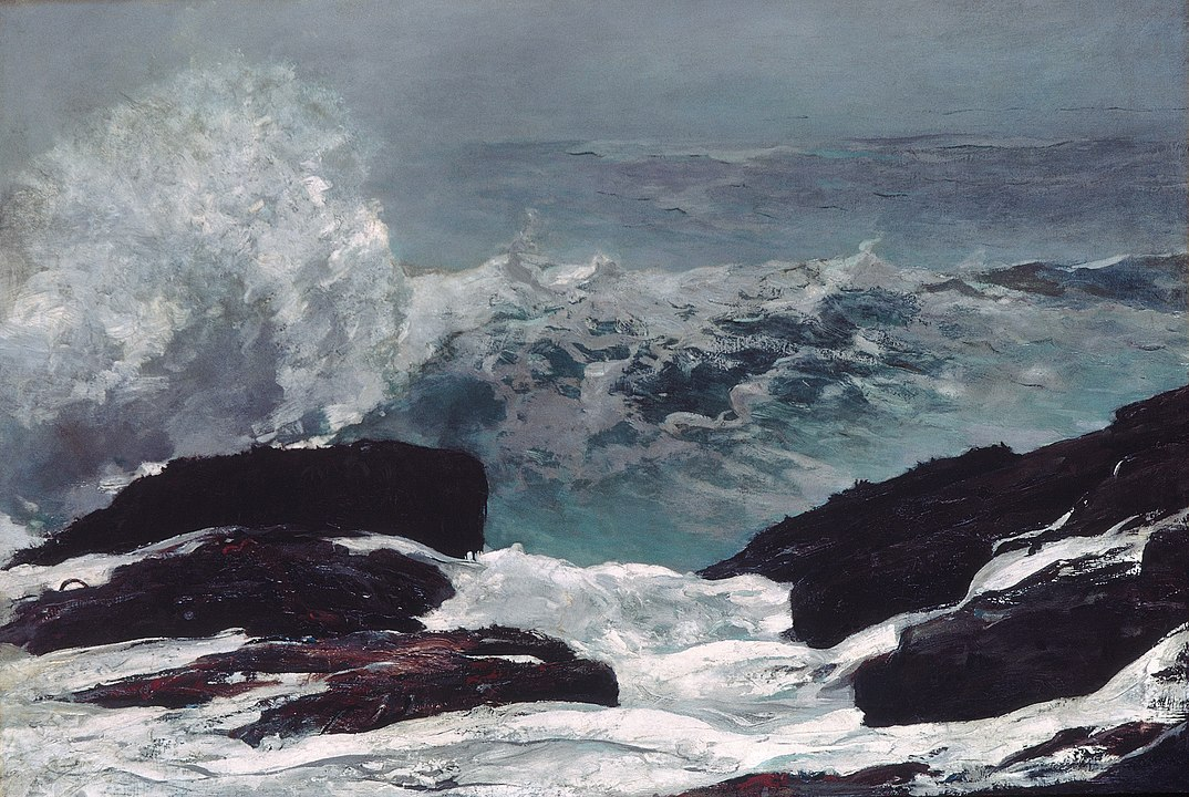 a painting of waves hitting rocks