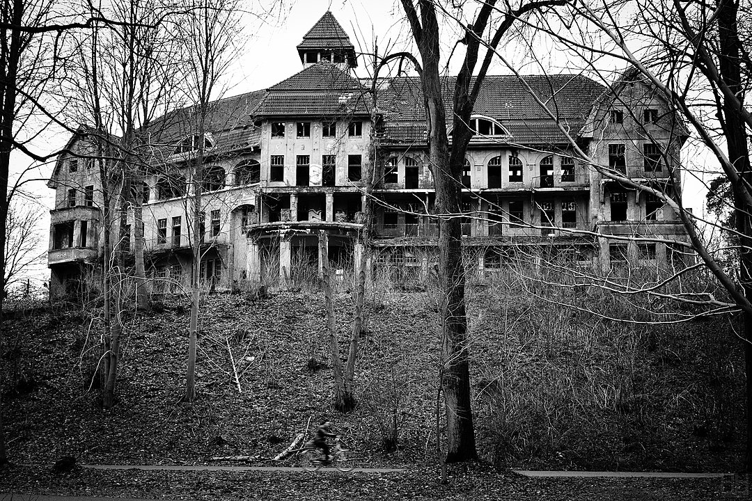 a black and white photo of an old, decaying mansion on a hill