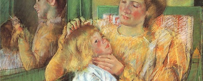 a painting of a woman combing her child's hair, with this scene reflected in a mirror next to them