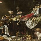 a painting of decadent food on a table, with a parrot in a corner, a dog in another corner, and a monkey on the floor