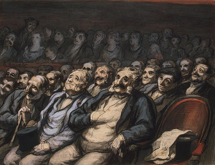 a painting of men seating in theatre seats from the mid-1800s