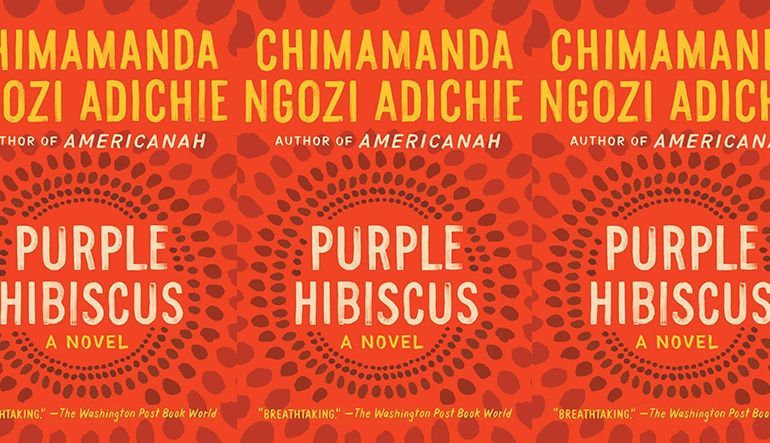 the book cover for Purple Hibiscus