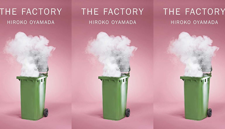 the book cover for The Factory featuring a large trash can with smoke billowing out of it