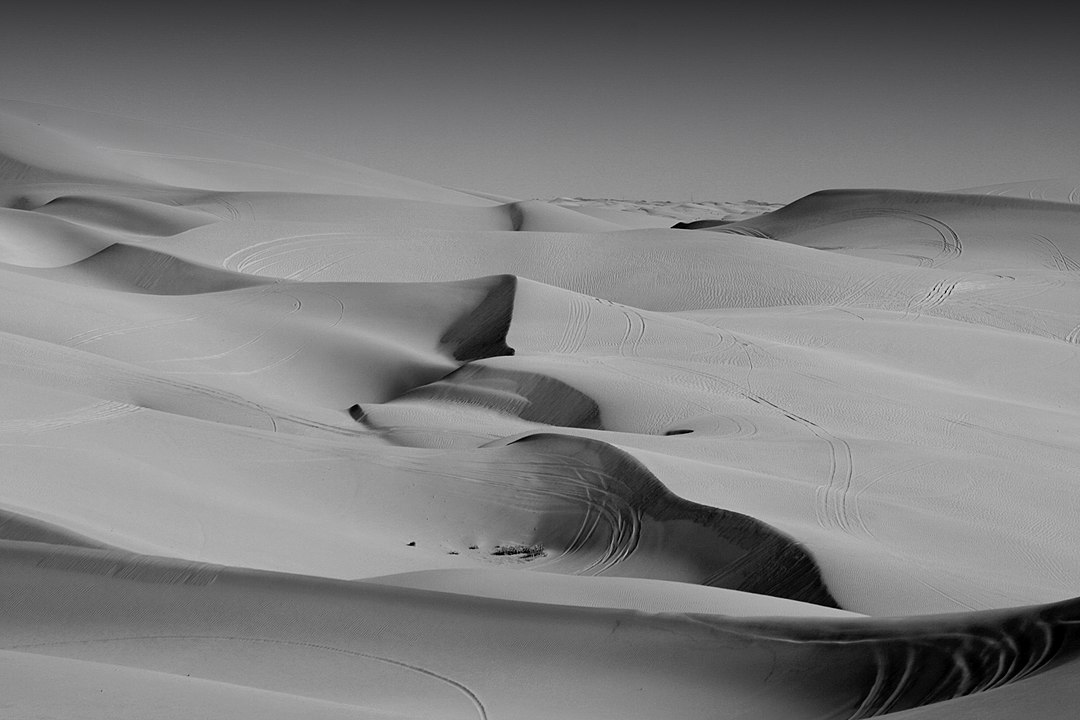 a black and white photograph of and endless panorama of sand dunes