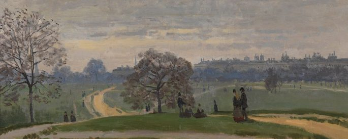 a painting of a park with buildings in the distance