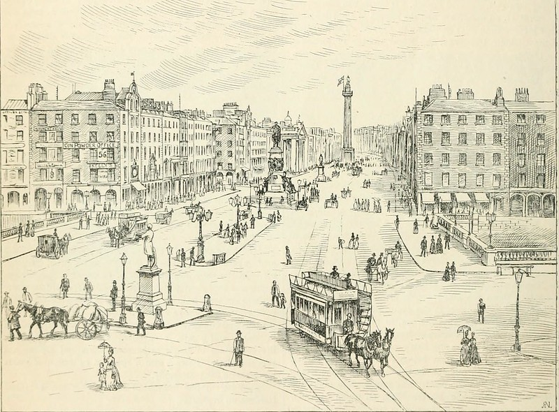 a pencil drawing of a street and its buildings