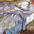 a painting of a bed with rumpled sheets