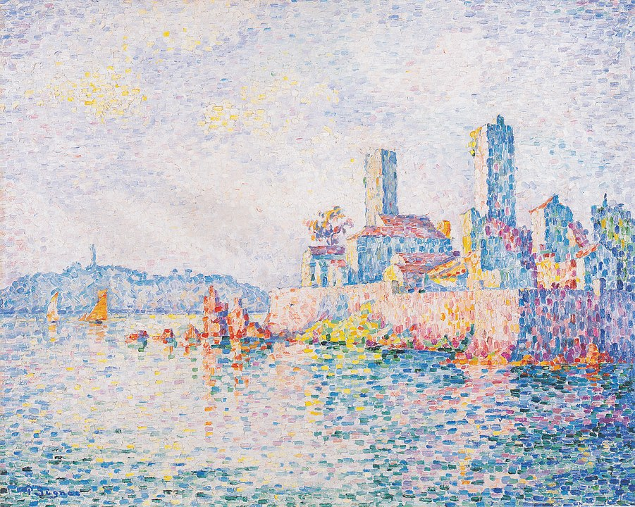 an impressionistic painting of the Antibes skyline