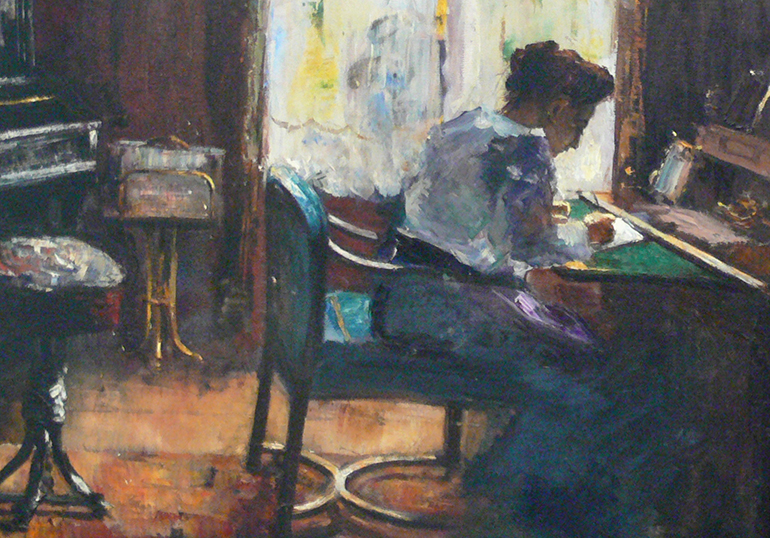 a painting of a woman sitting at a desk next to a window