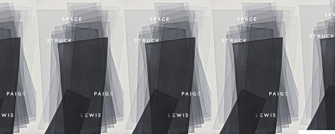 the cover of Space Struck by Paige Lewis featuring various overlapping gray polygons